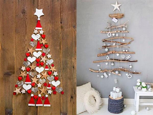 Árvore de Natal na parede feita com design simples e barato