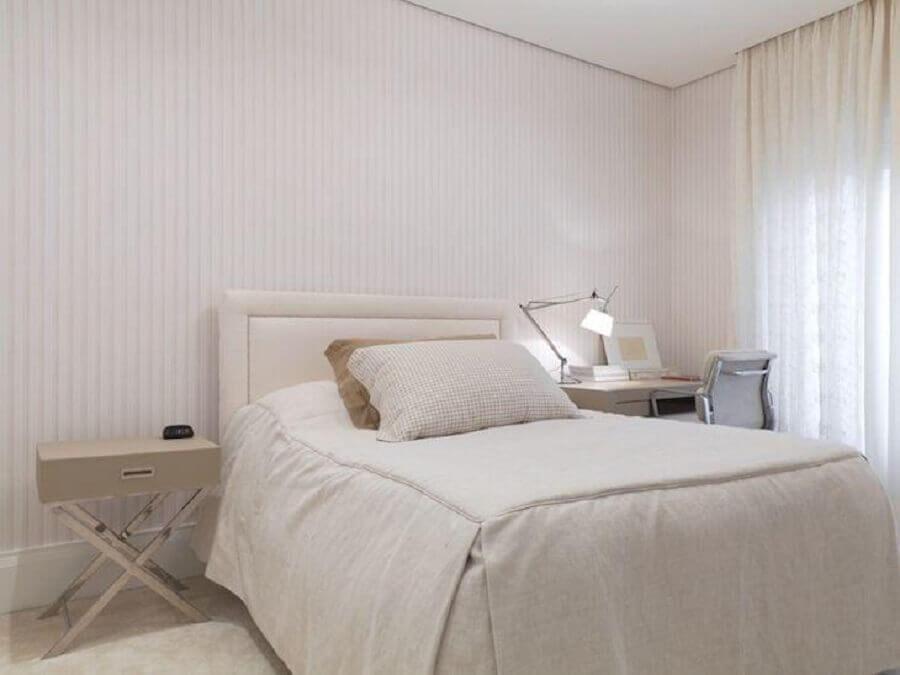 cabeceira cama box solteiro para quarto todo branco Foto Kwartet Arquitetura