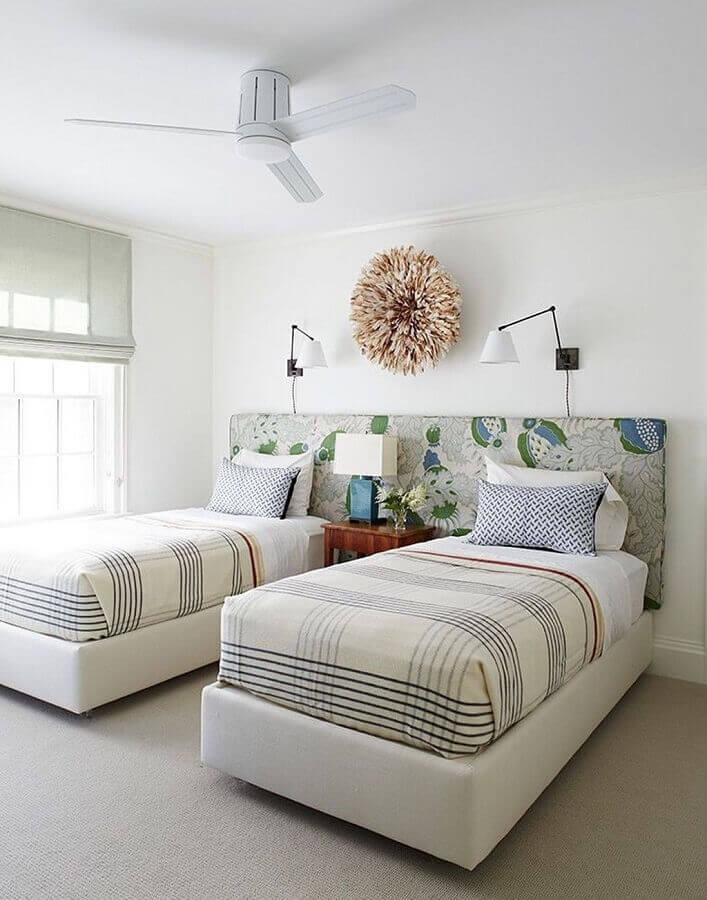 cabeceira estampada para cama box solteiro Foto Decoração e Invenção