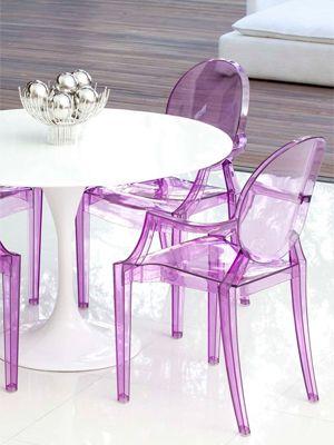 Cadeira de acrílico colorida para sala clean