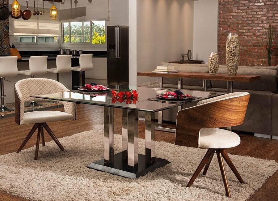 cadeira decorativa giratória para sala de jantar sofisticada e moderna Foto Inusual