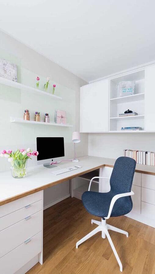 cadeira giratória secretária para escritório todo branco Foto Ideias Decor