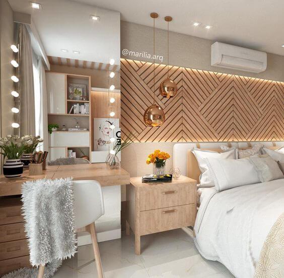 Cadeira para quarto de casal moderno e sofisticada