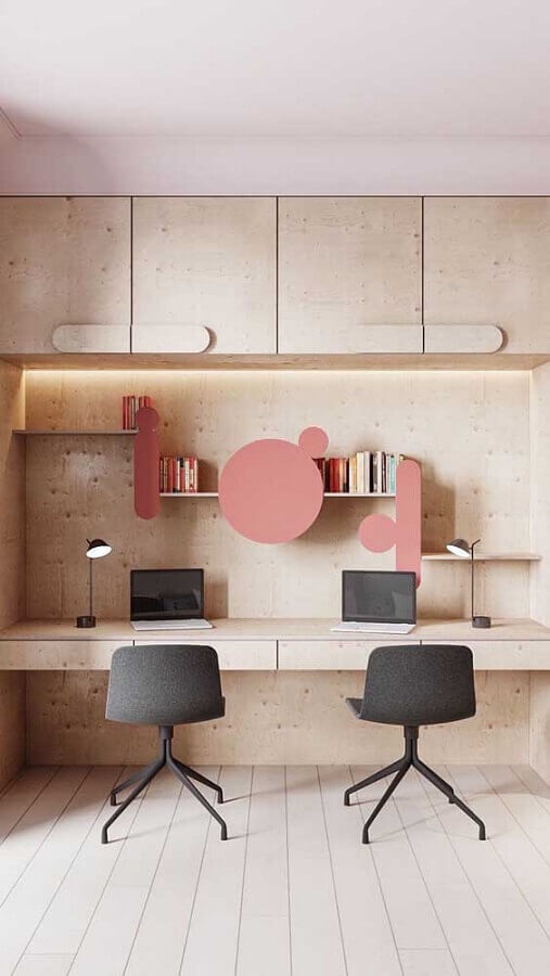 cadeiras giratórias pára decoração de escritório todo de madeira Foto Pinterest