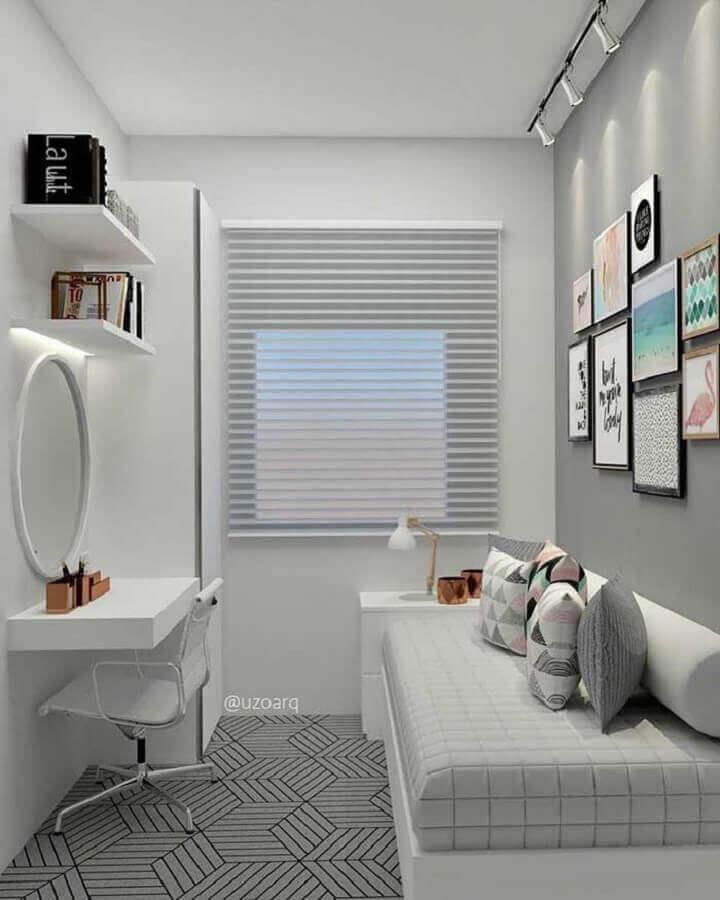 cama box com baú solteiro para quarto pequeno cinza e branco Foto Behance