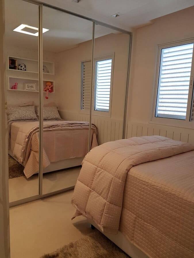 cama box solteiro com colchão para quarto com guarda roupa espelhado Foto Pinterest