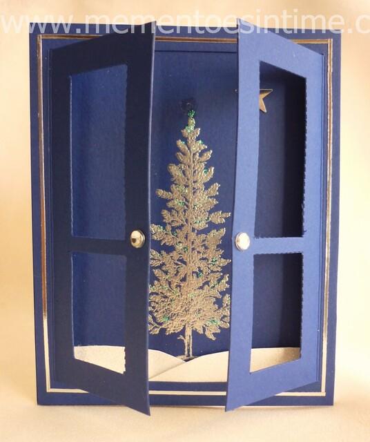 christmas card - blue card with doors