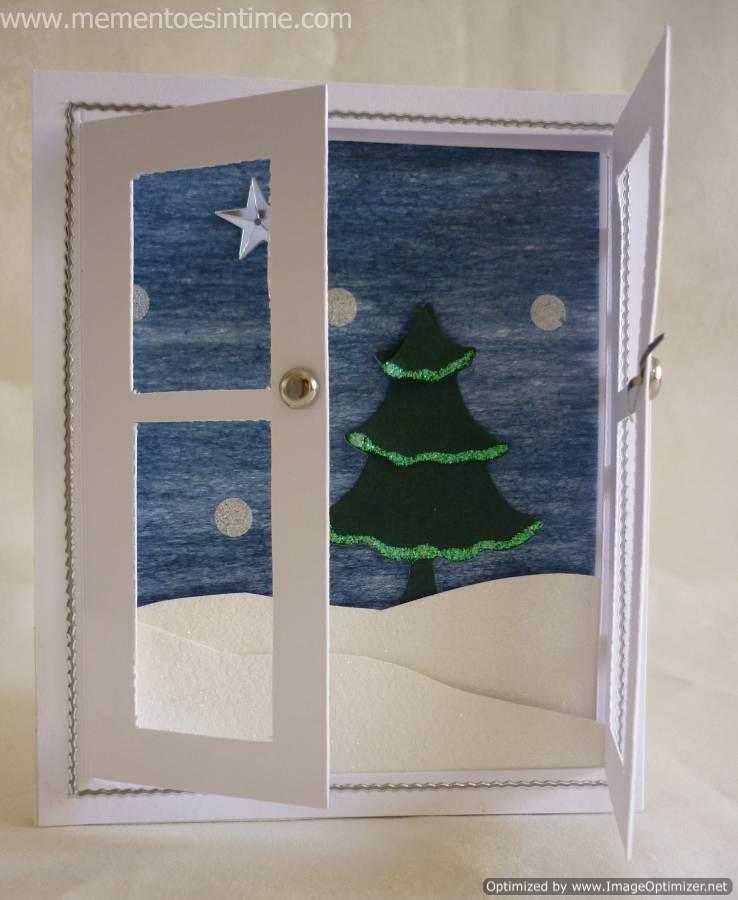christmas card - white and blue handmade card