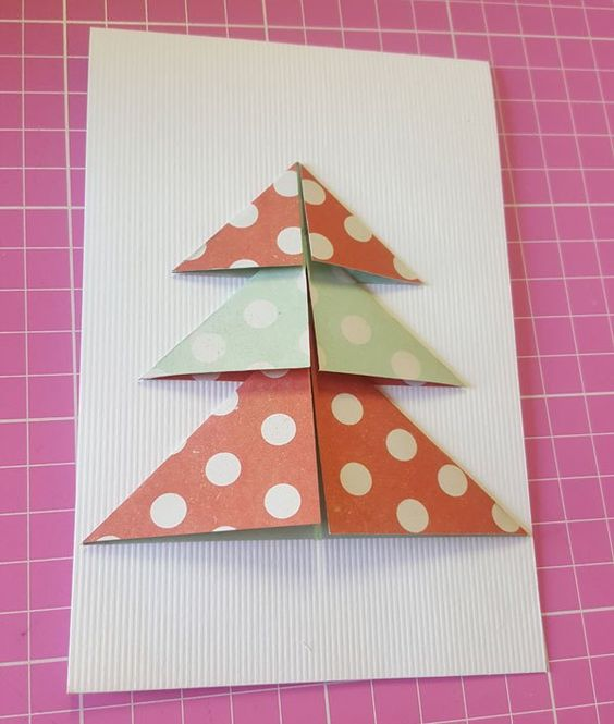 christmas card - card with colorful tree