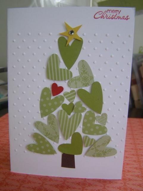 cartão de natal - cartão com árvores de coração