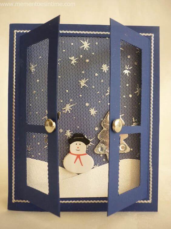 cartão de natal - cartão com boneco de neve