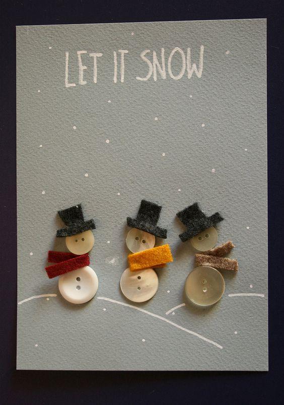 cartão de natal - cartão com botões formando bonecos de neve