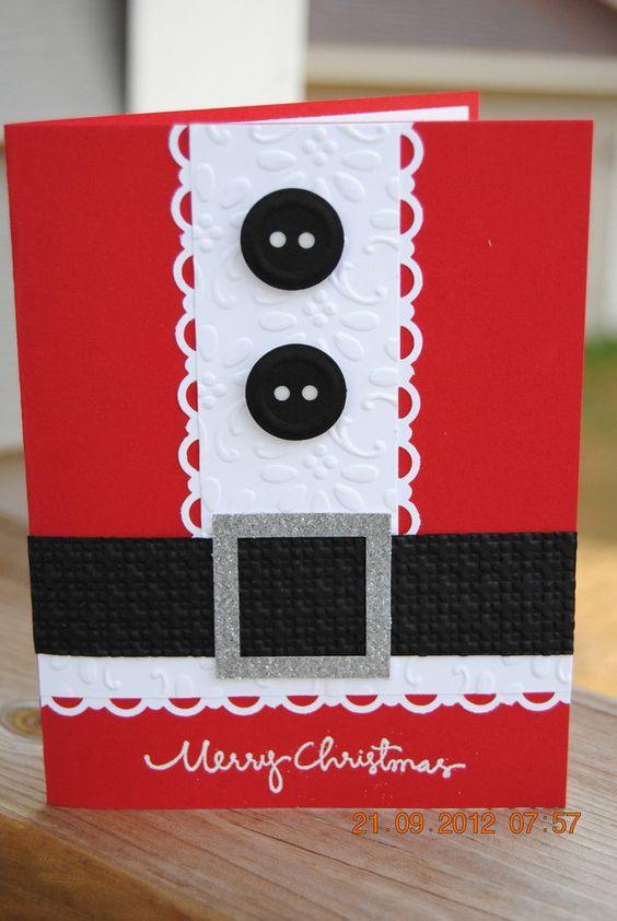 christmas card - card with black buttons