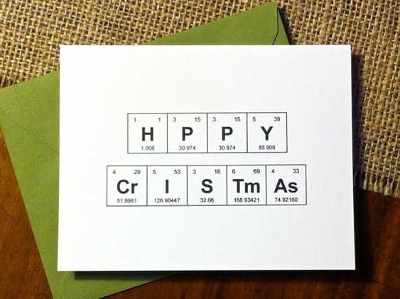 cartão de natal - cartão com desenho de tabela periódica