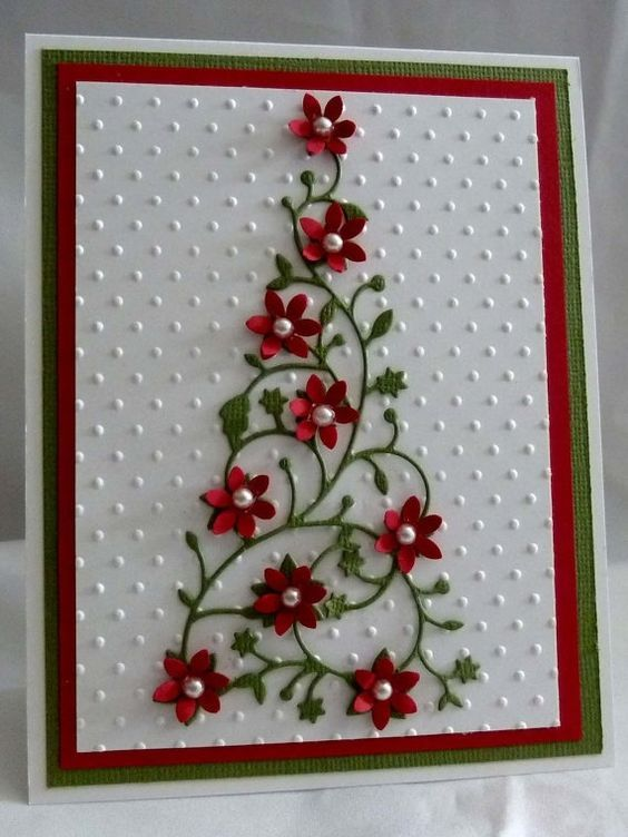 christmas card - card with paper flowers