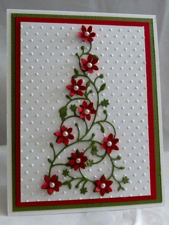 cartão de natal - cartão com flores de papel
