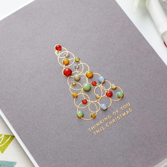 cartão de natal - cartão com frase e miçangas