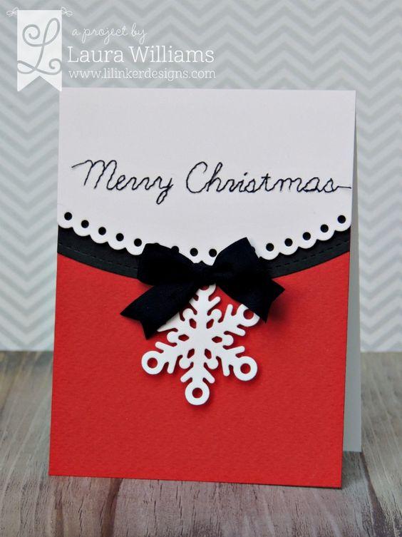 christmas card - black bow card
