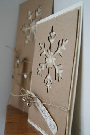 christmas card - card with craft paper