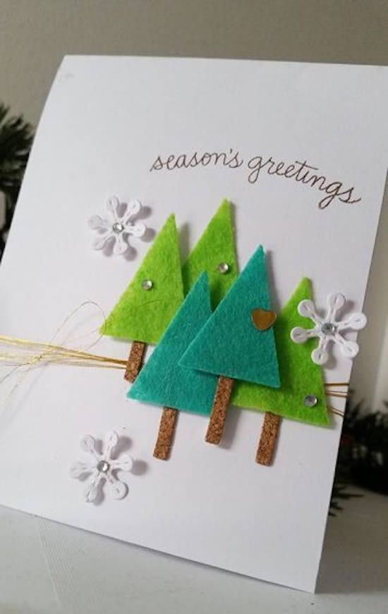 christmas card - card with small trees