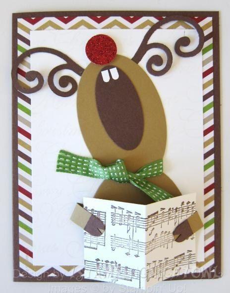 cartão de natal - cartão com rena cantora
