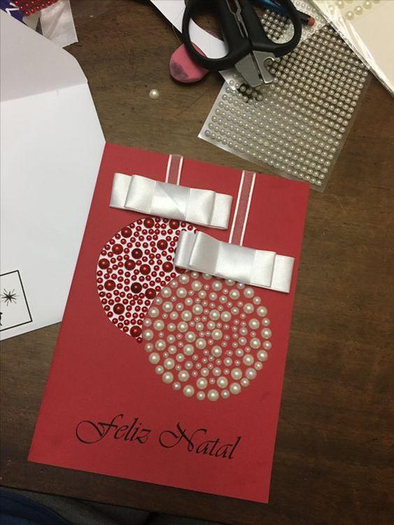 cartão de natal - cartão de bolas de natal com miçanga