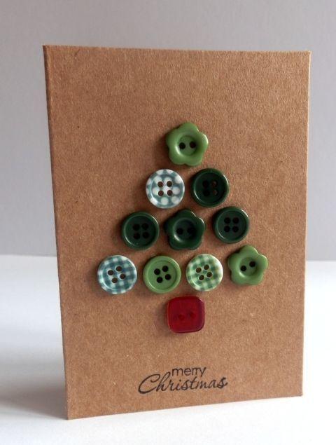 cartão de natal - cartão de botões coloridos