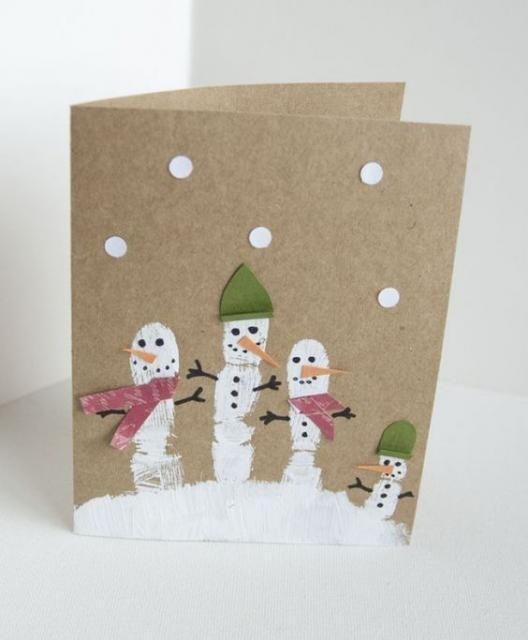 cartão de natal - cartão de natal com bonecos de neve