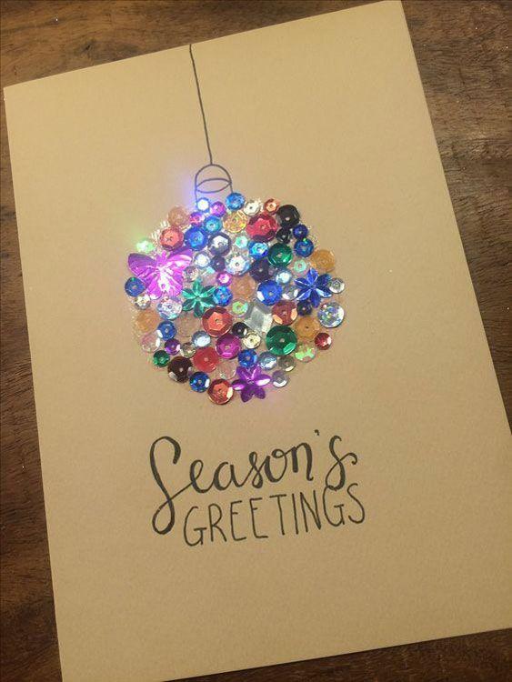 cartão de natal - cartão de natal com lantejoulas