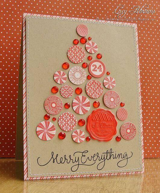 cartão de natal - cartão de natal costurado