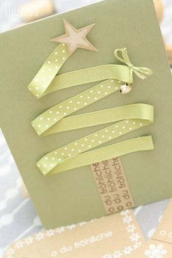 christmas card - green christmas card with ribbons