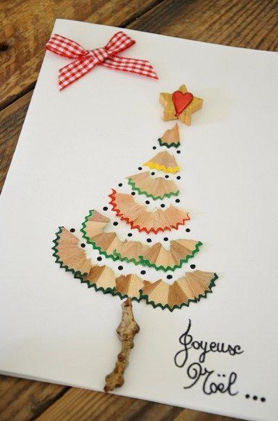cartão de natal - cartão feito com raspas de lápis