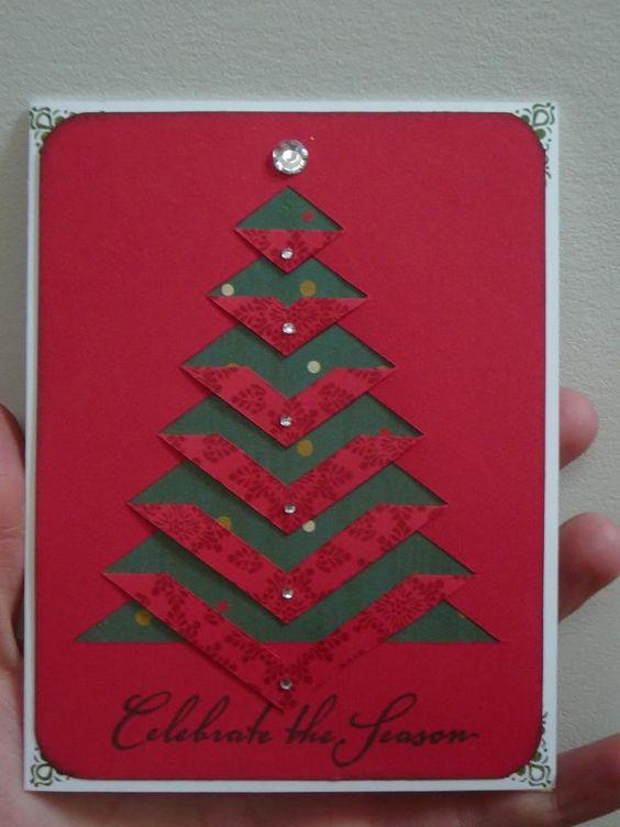cartão de natal - cartão vermelho com árvore verde