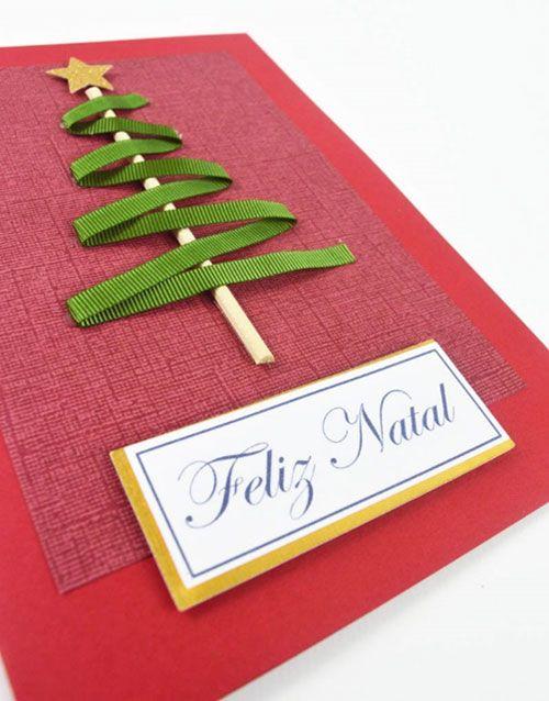 cartão de natal - cartão vermelho com palito