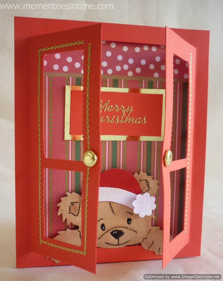christmas card - red card with bear