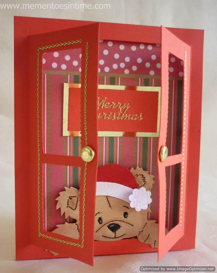 cartão de natal - cartão vermelho com urso