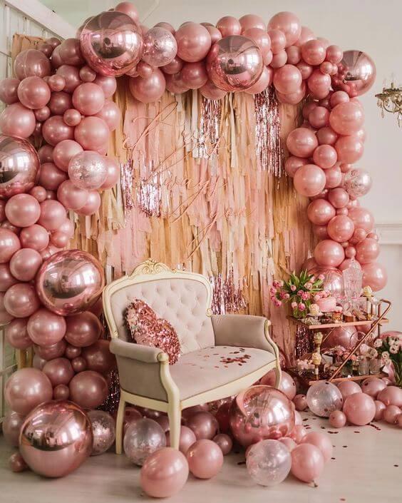 fotos com balões metalizados