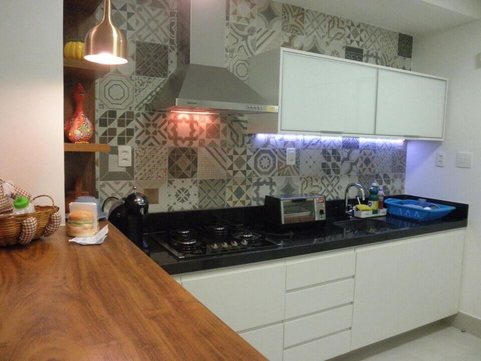 cerâmica para parede - cozinha com adesivo de azulejo