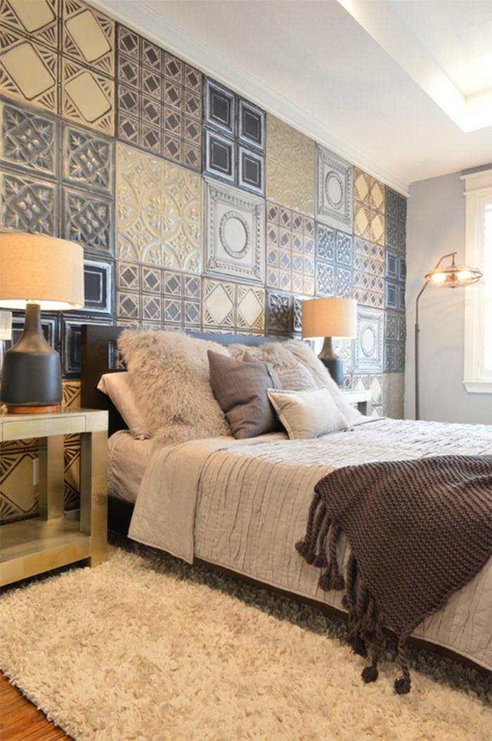 cerâmica para parede - quarto com parede decorada