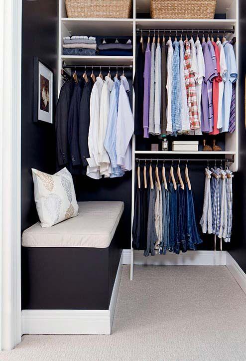closet aberto - closet aberto com banco estofado
