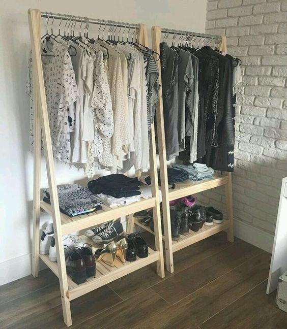 closet aberto - cloet simples com arara