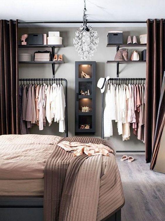 closet aberto - closet aberto com cortina