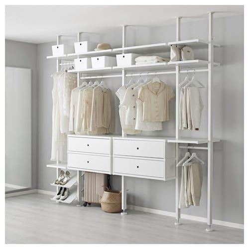 closet aberto - closet branco com gavetas suspensas