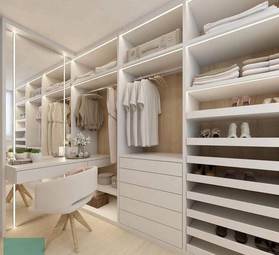 closet aberto - closet branco com penteadeira