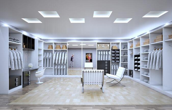 closet aberto - closet clássico com espelho