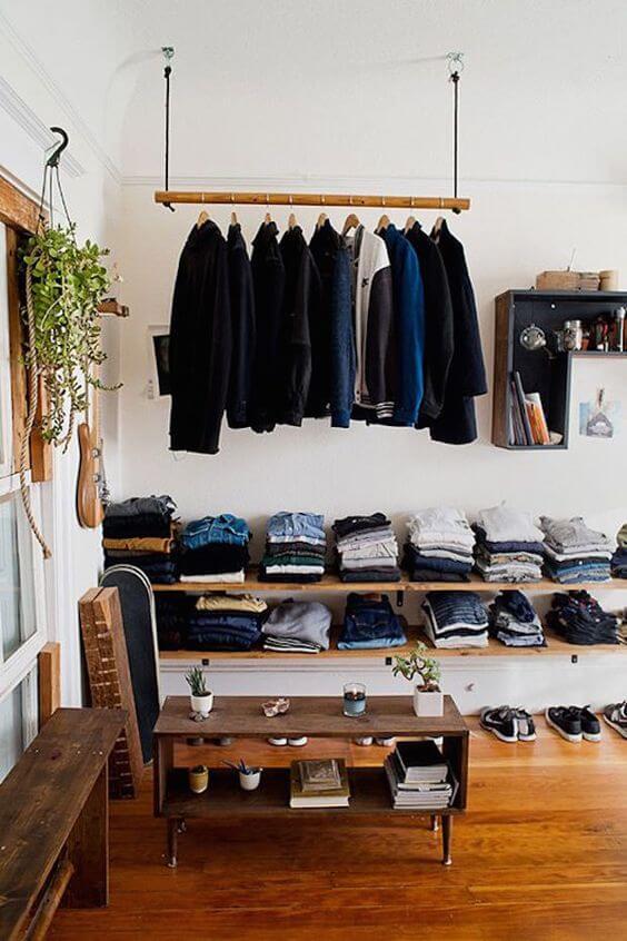 closet aberto - closet com cabideiro suspenso