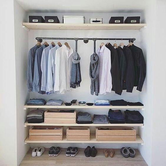 closet aberto - closet com caixotes