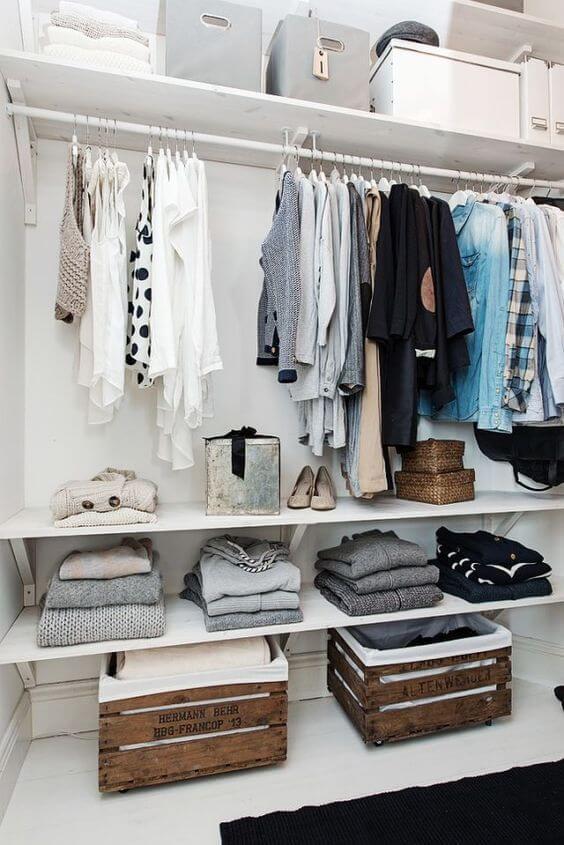 closet aberto - closet com caixotes simples