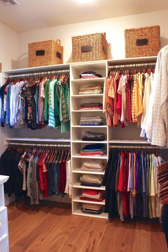 closet aberto - closet com cestos de vime