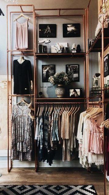 closet aberto - closet com estrutura em cobre